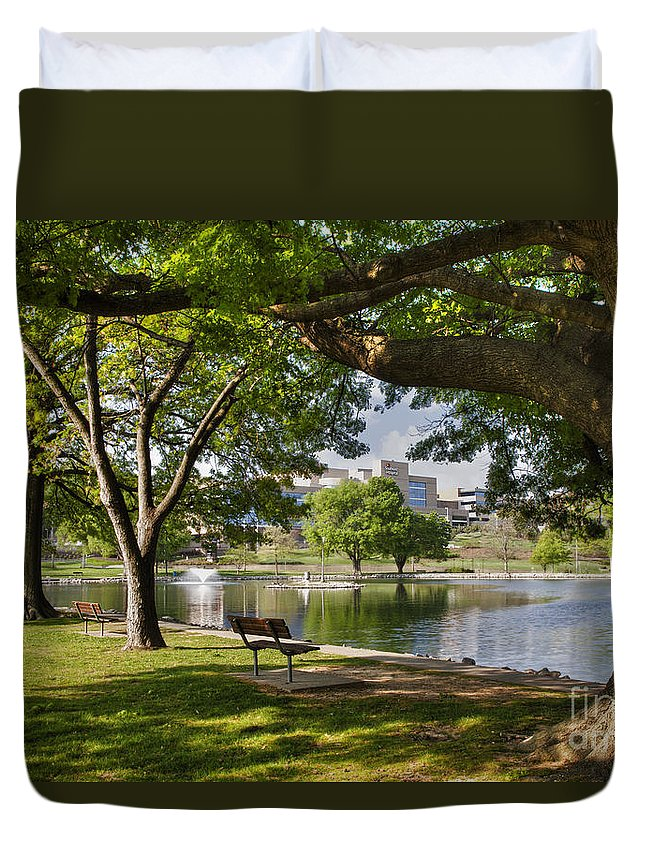 2012 Duvet Cover featuring the photograph Park Bench By A Lake by Larry Braun