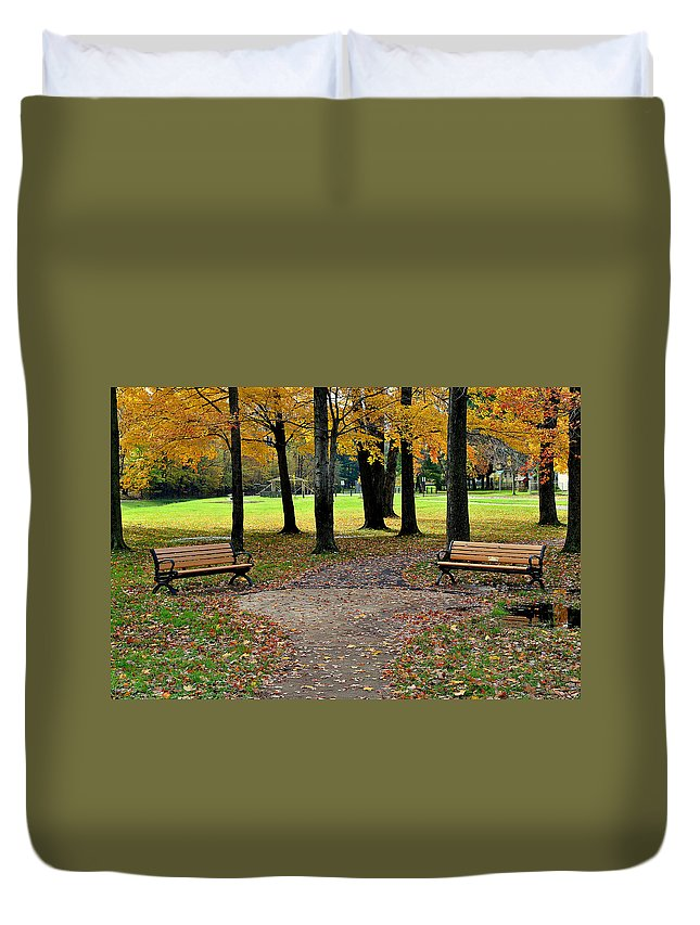 Park Duvet Cover featuring the photograph Park Bench by Frozen in Time Fine Art Photography