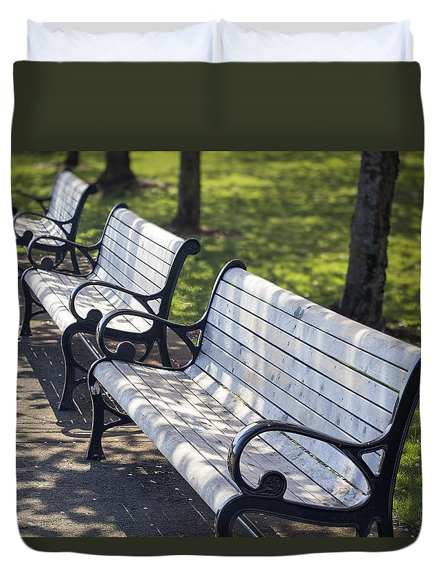 Park Duvet Cover featuring the photograph Park Benches At Portland Waterfront Park by Jit Lim