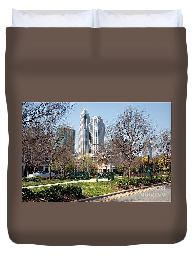 Carolina Duvet Cover featuring the photograph Park In Uptown Charlotte by Bill Cobb