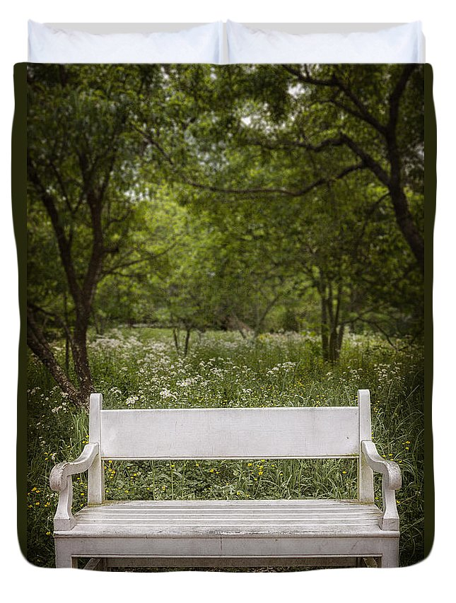 Bench Duvet Cover featuring the photograph Park Place by Margie Hurwich