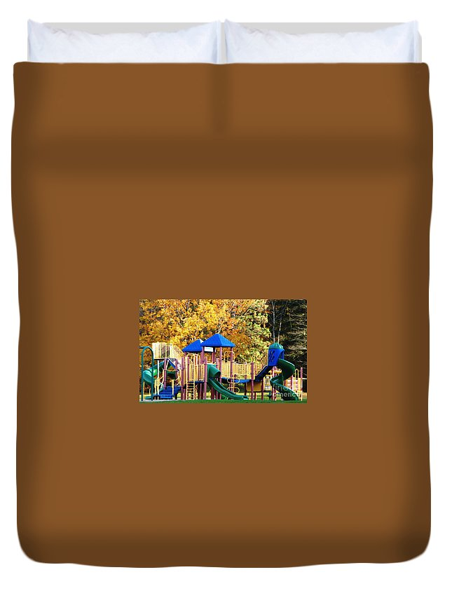 Playground Duvet Cover featuring the photograph Park Playground Equipment With Oil Painting Effect by Rose Santuci-Sofranko