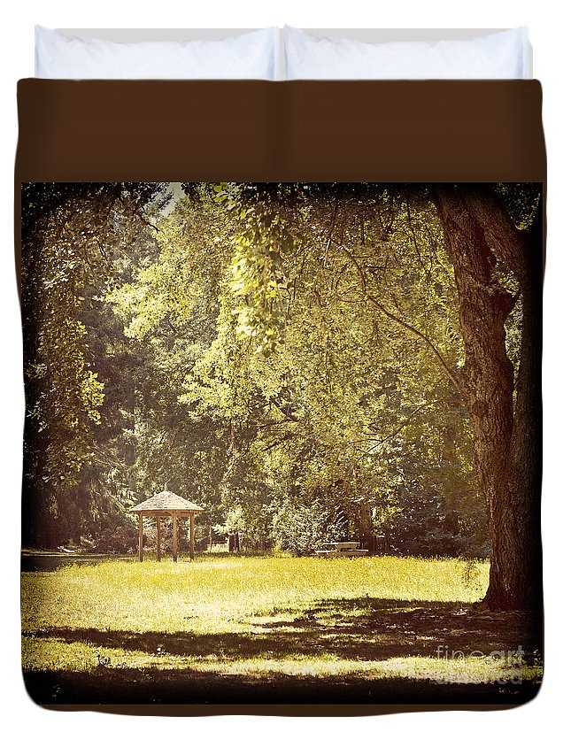 Park Duvet Cover featuring the photograph Park Shelter Filtered by Tim Hester