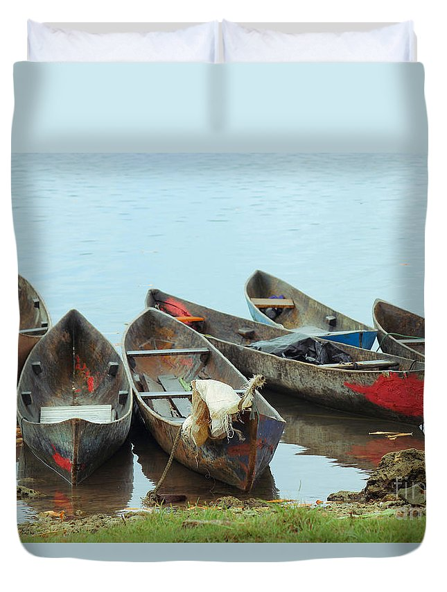 Boats Duvet Cover featuring the photograph Parking Boats by Jola Martysz