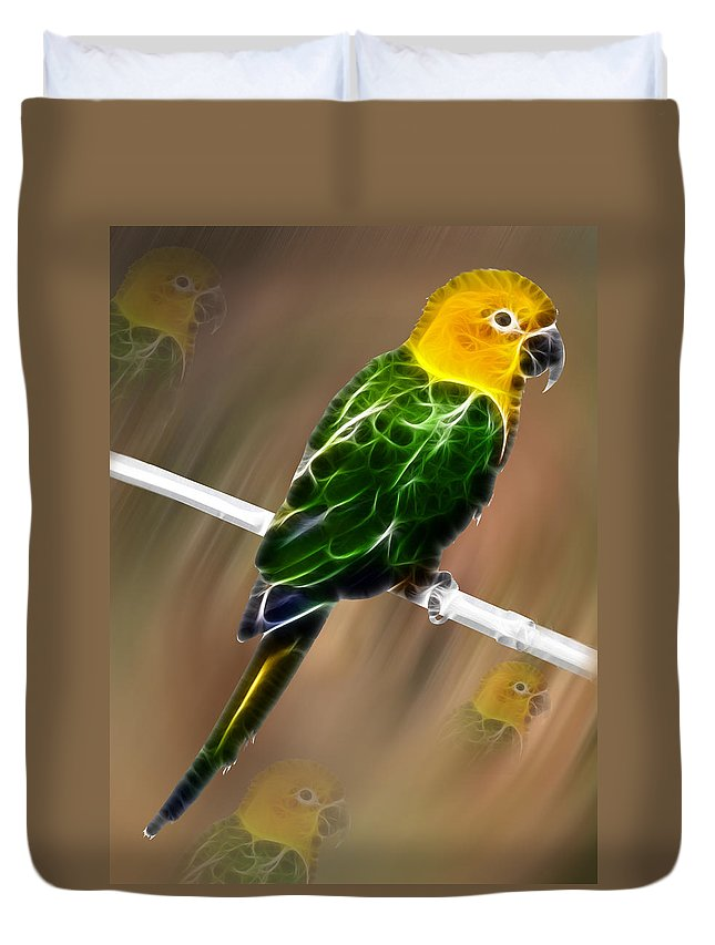 Parrot Duvet Cover featuring the painting Parrot Beauty Digital Artwork by Georgeta Blanaru
