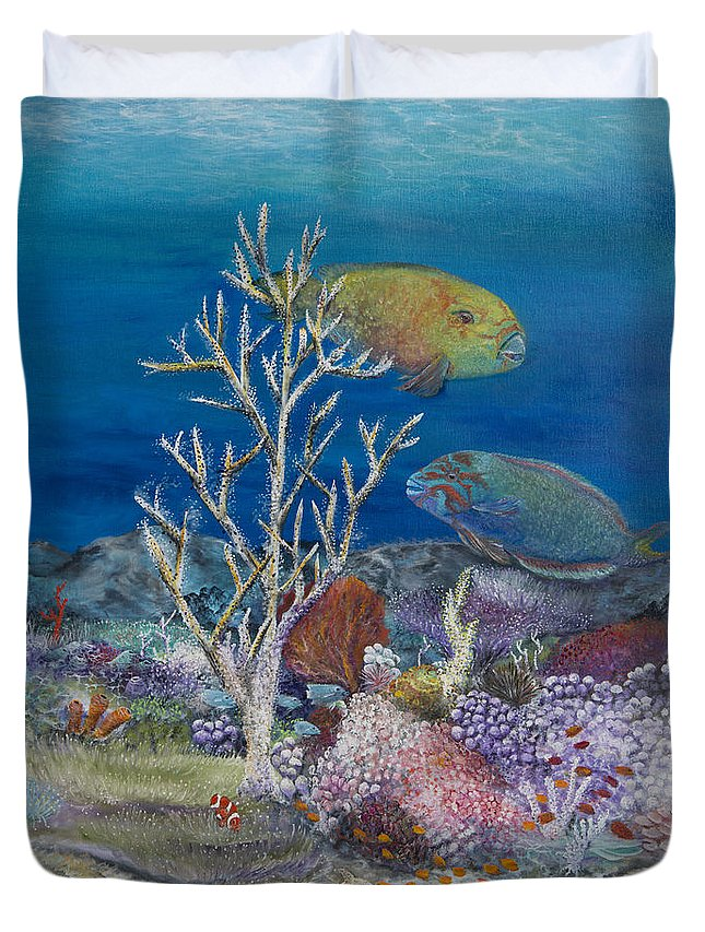 Parrot Fish Duvet Cover featuring the painting Parrots Of The Reef by John Garland Tyson