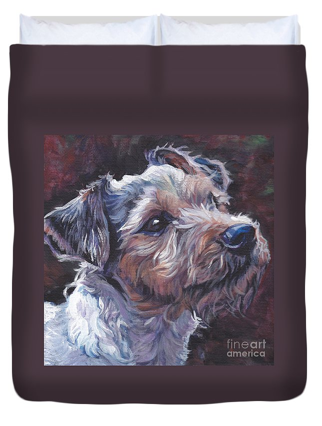 Parson Russell Terrier Duvet Cover featuring the painting Parson Russell Terrier by Lee Ann Shepard