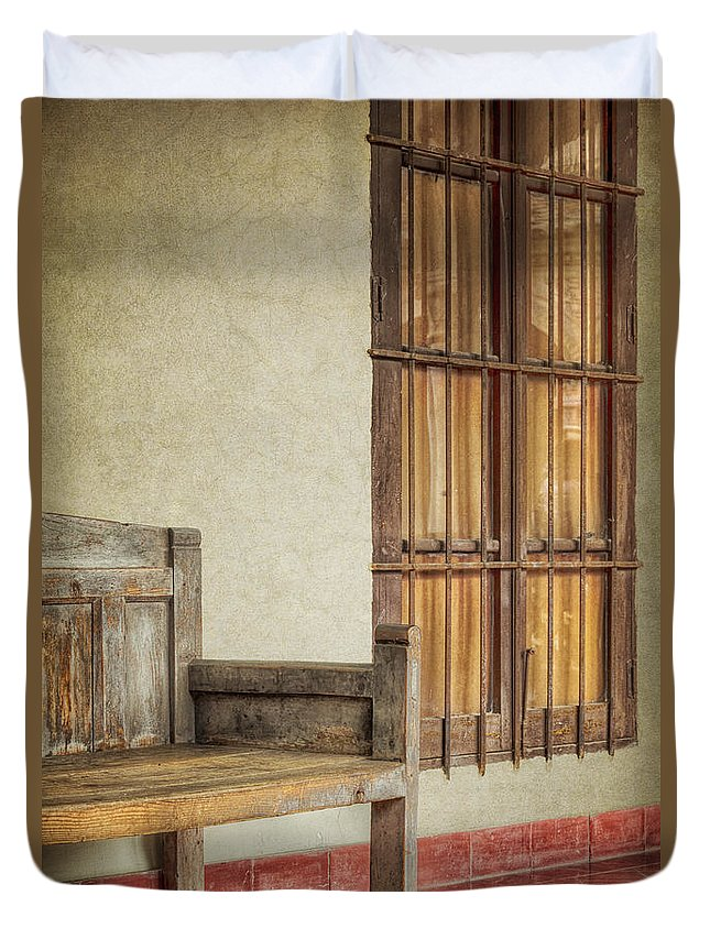 Alone Duvet Cover featuring the photograph Part Of A Bench by Joan Carroll