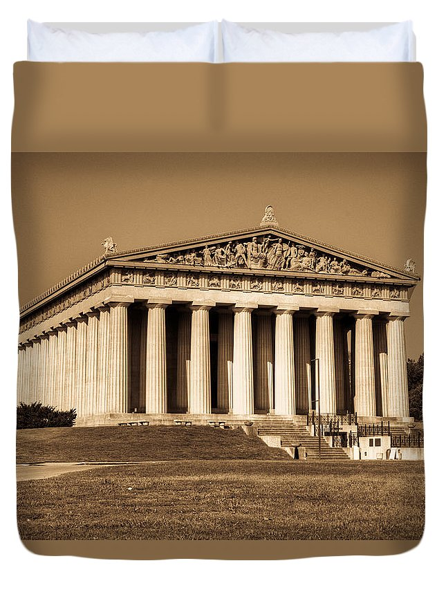 20120807-dsc00005_6_7enhancer Duvet Cover featuring the photograph Parthenon In Sepia 3 by Douglas Barnett