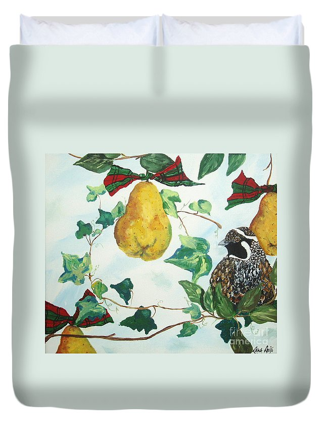 Tree Duvet Cover featuring the painting Partridge And Pears by Reina Resto