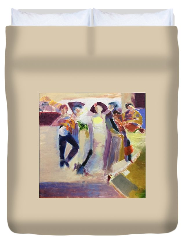 Party Fun Gatherings Music Swaying Duvet Cover featuring the painting Party People by Rajiv Bhamoo