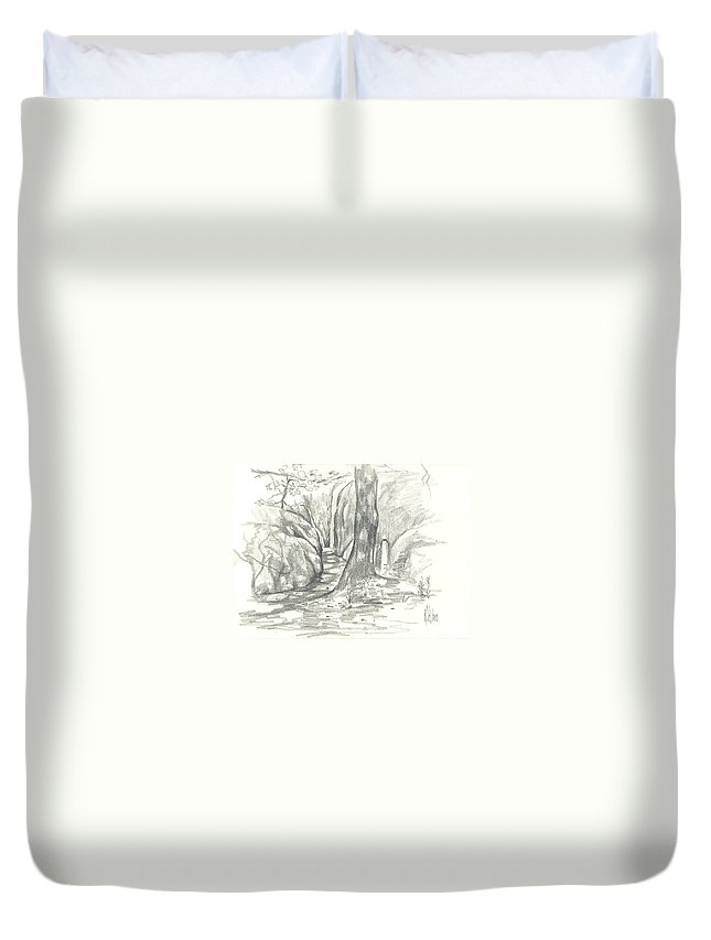 Passageway At Elephant Rocks Duvet Cover featuring the drawing Passageway At Elephant Rocks by Kip DeVore
