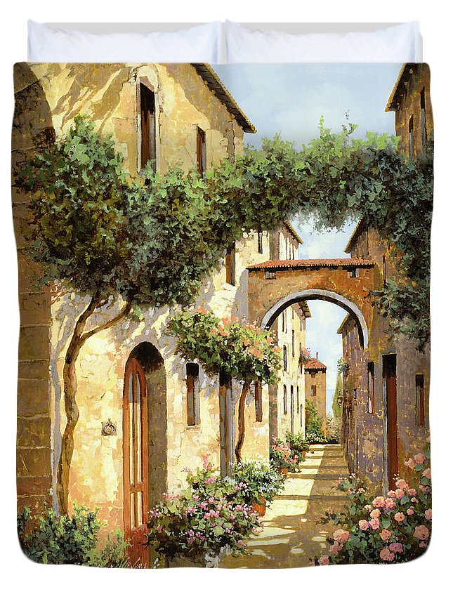 Landscape Duvet Cover featuring the painting Passando Sotto L'arco by Guido Borelli