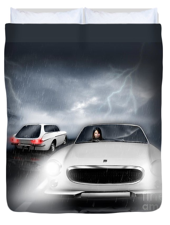 Volvo P1800 Duvet Cover featuring the digital art Passing In The Night by Linton Hart