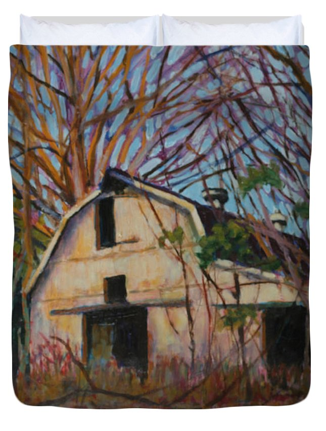Decaying Barn Painting In North Carolina Duvet Cover featuring the painting Passing Moments by David Zimmerman