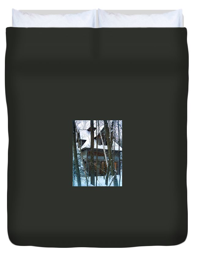 Abandoned Buildings Duvet Cover featuring the photograph Passing One Snowy Eve 2 by Marie Jamieson