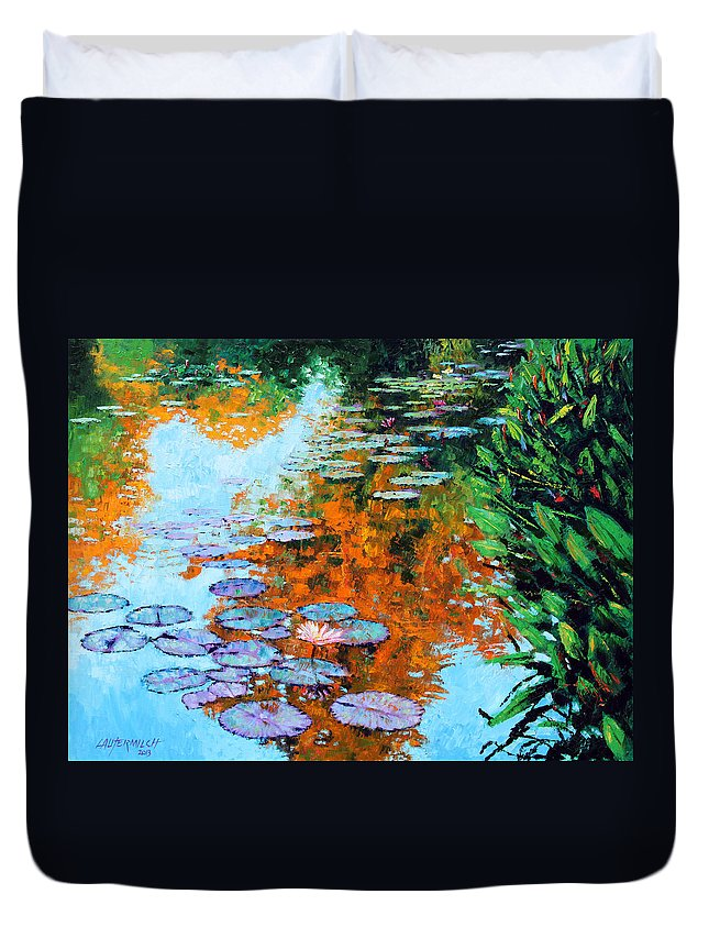 Garden Pond Duvet Cover featuring the painting Passing Season by John Lautermilch