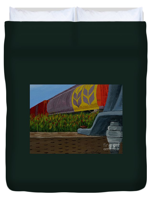 Train Duvet Cover featuring the painting Passing the wild ones by Anthony Dunphy