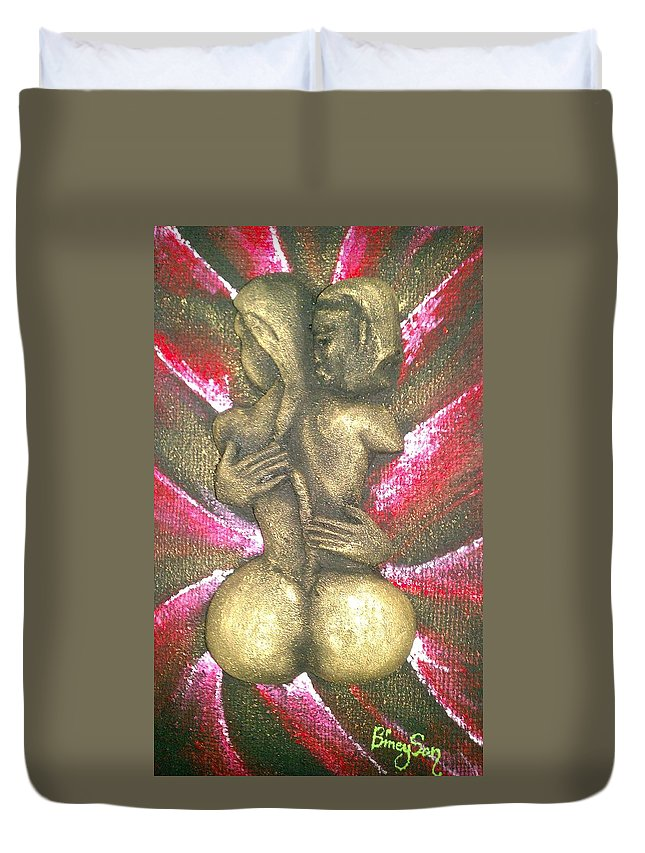 Women Duvet Cover featuring the digital art Passion by Bineyson