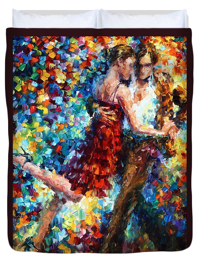 Afremov Duvet Cover featuring the painting Passion Dancing by Leonid Afremov