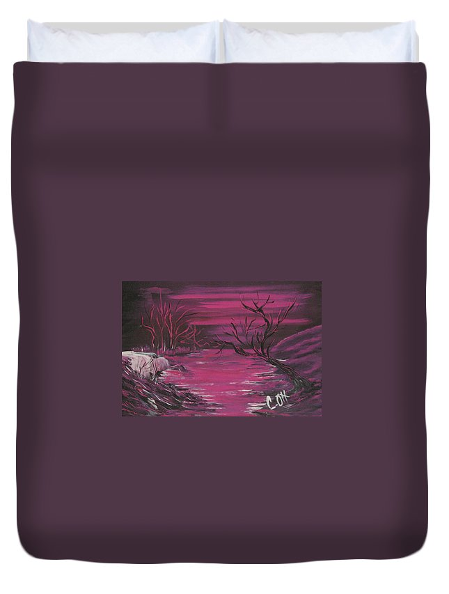 Fushia Duvet Cover featuring the painting Passion Falls by Calvin Ott