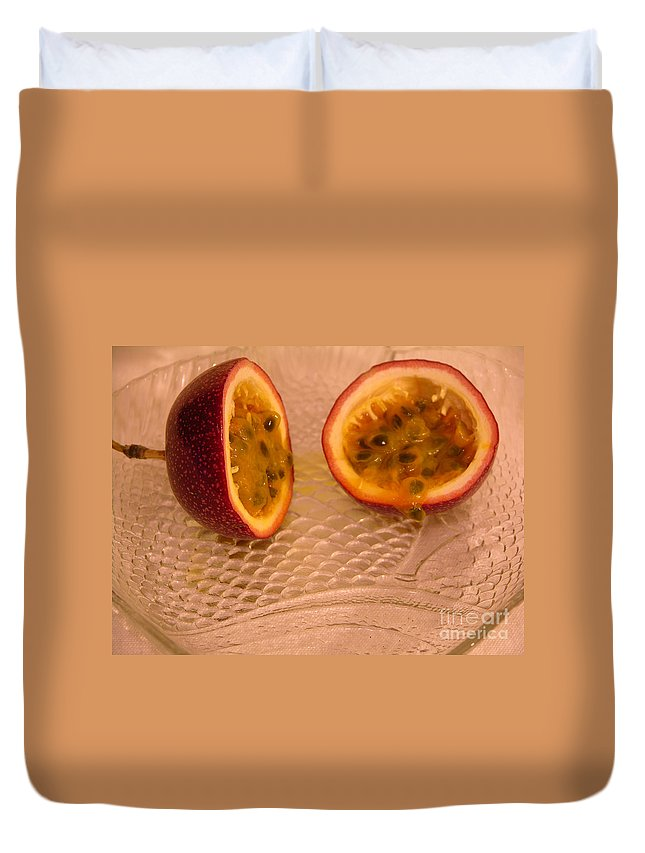 Photography Duvet Cover featuring the photograph Passion Fruit On Fish Plate 11-3-13 by Julianne Felton