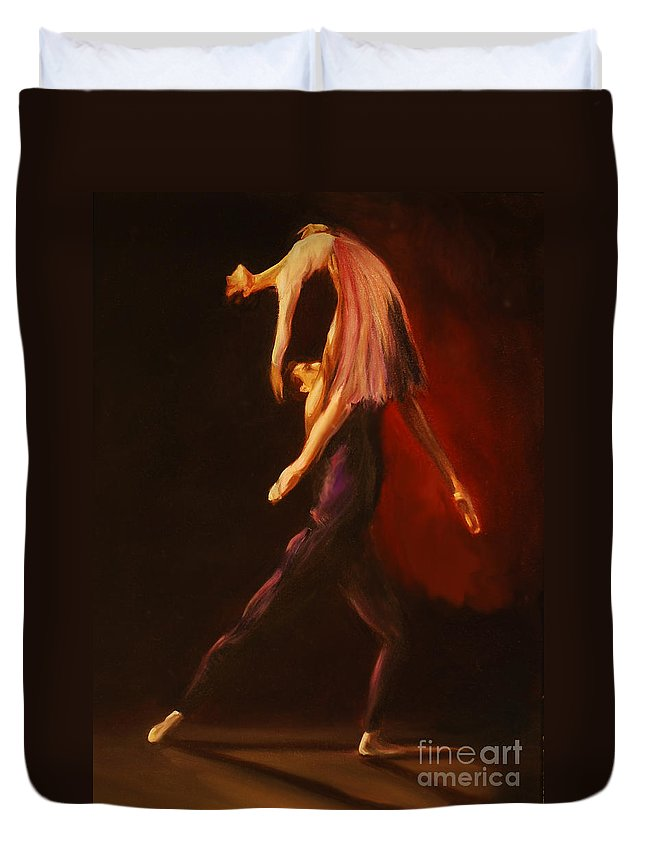 Ballet Duvet Cover featuring the painting Passion by Nancy Bradley