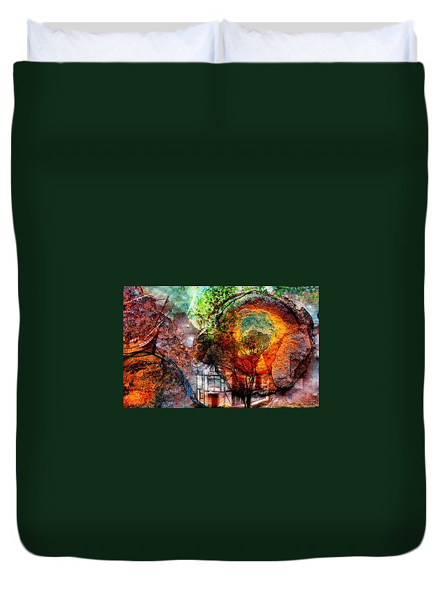 Weird Duvet Cover featuring the mixed media Past Or Future? by Ally White