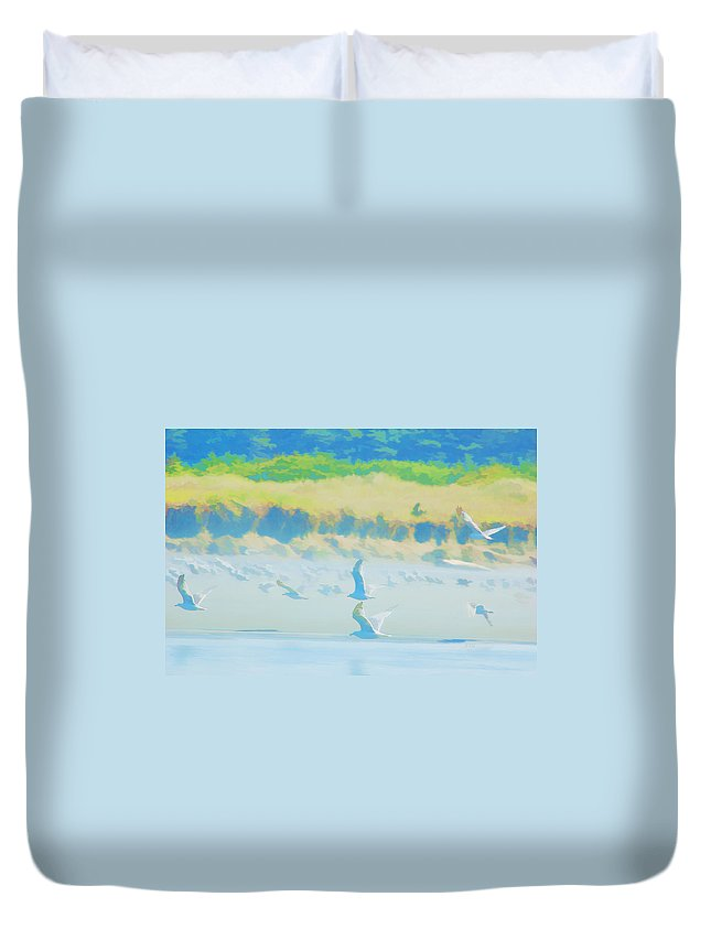 Copalis Beach Duvet Cover featuring the photograph Pastel Wings by Allan Van Gasbeck