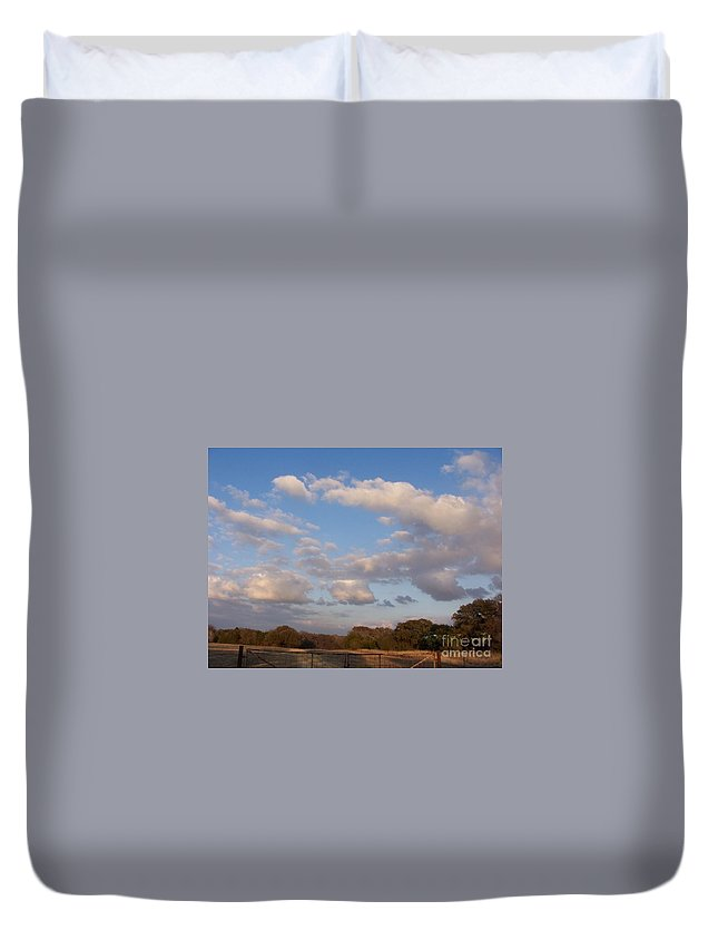 Landscape Duvet Cover featuring the photograph Pasture Clouds by Susan Williams