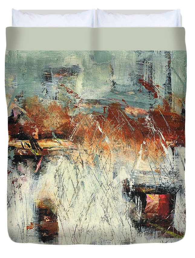 Abstract Landscapes Duvet Cover featuring the painting Pasture Grasses by Frances Marino