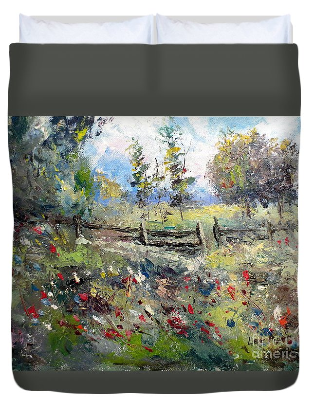 Lee Piper Duvet Cover featuring the painting Pasture With Fence by Lee Piper