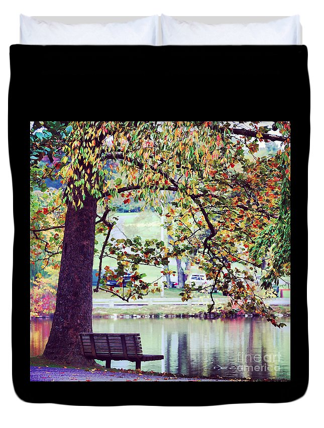 Bench Duvet Cover featuring the photograph Patches Of Color by Kerri Farley