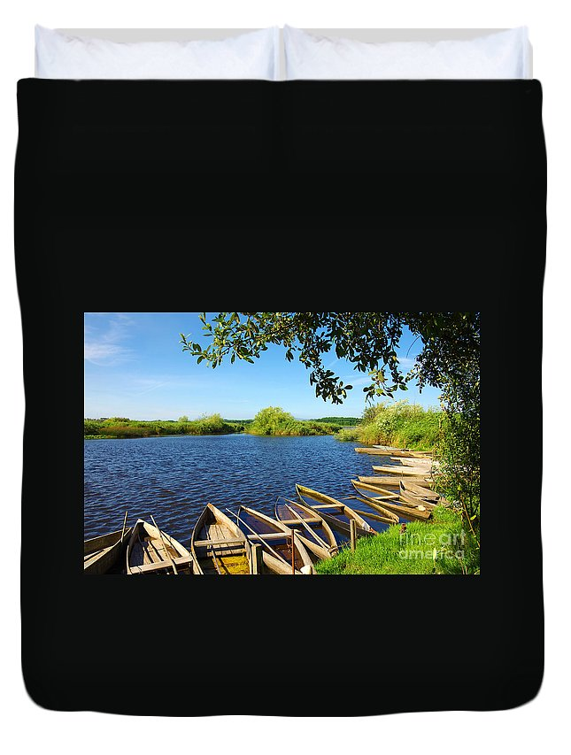 Art Duvet Cover featuring the photograph Pateira Boats by Carlos Caetano