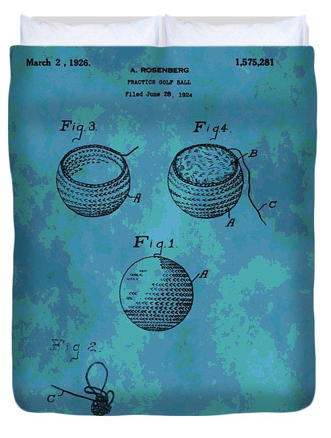 Golf Ball Patent Duvet Cover featuring the digital art Patent Art Golf Ball by Dan Sproul
