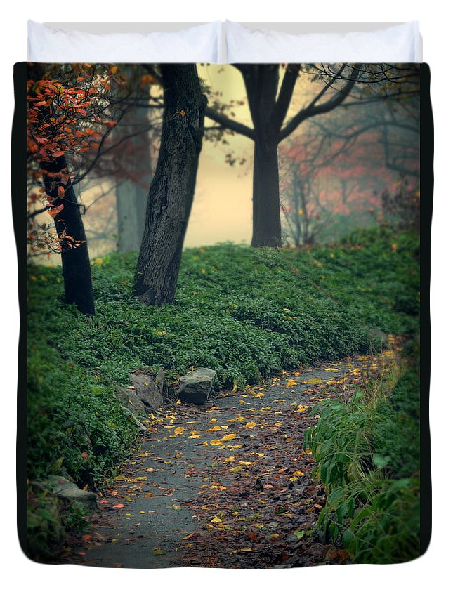 Path Duvet Cover featuring the photograph Path In The Forest by Jill Battaglia