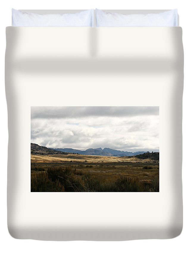 Split Rock Duvet Cover featuring the photograph Path Of The Pioneers - Split Rock - Jeffrey City - Wyoming by Diane Mintle