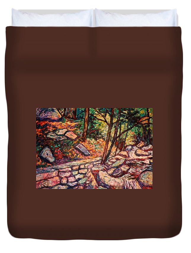 Landscape Duvet Cover featuring the painting Path To The Cascades by Kendall Kessler
