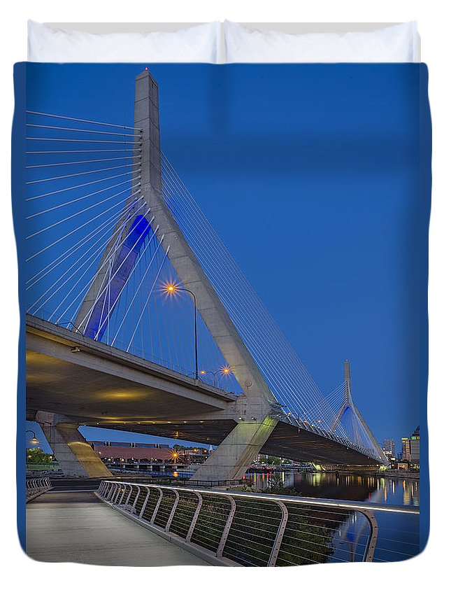 Boston Duvet Cover featuring the photograph Path To The Leonard P. Zakim Bridge by Susan Candelario