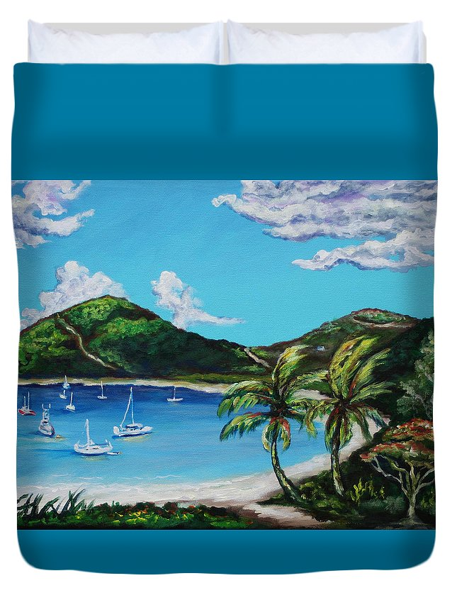 Eve Wheeler Duvet Cover featuring the painting Path To White Bay by Eve Wheeler