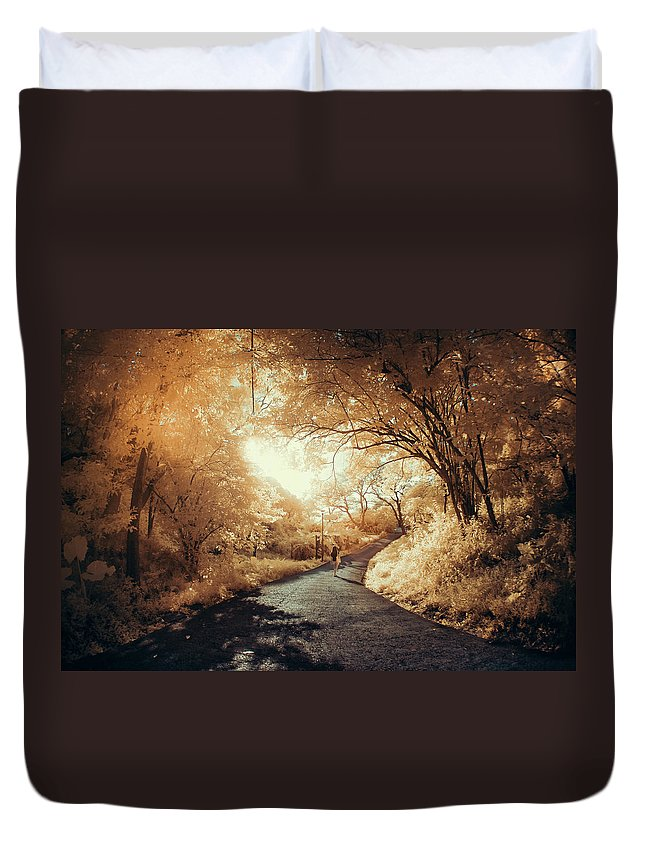 Shadow Duvet Cover featuring the photograph Pathway To Wonderland by D3sign