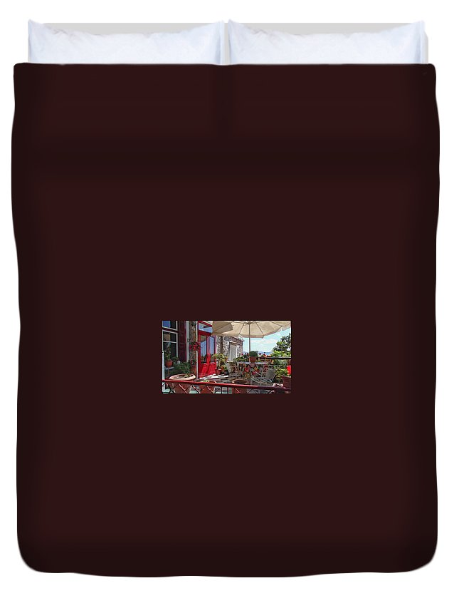 Architecture Duvet Cover featuring the digital art Patio by Roy Pedersen