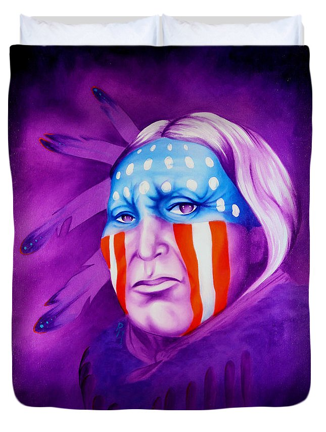 Native American Art Duvet Cover featuring the painting Patriot by Robert Martinez