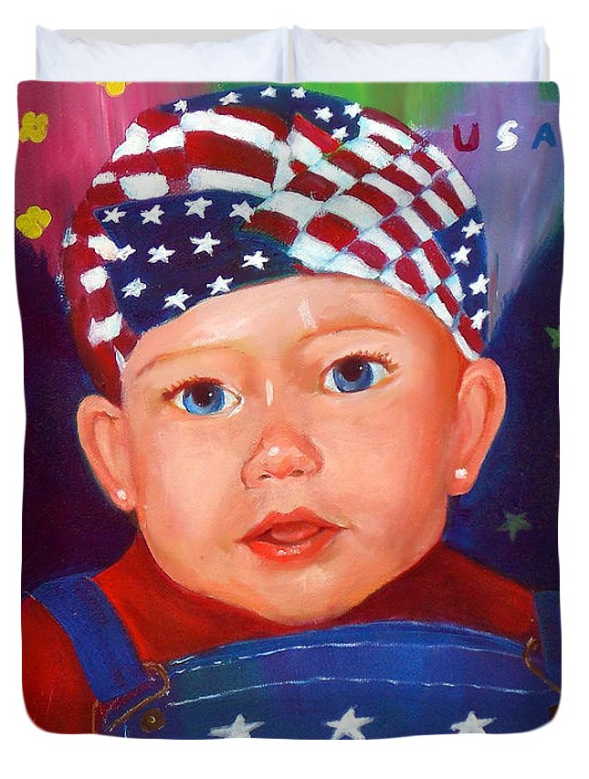 Baby Duvet Cover featuring the painting Patriotic Baby by To-Tam Gerwe