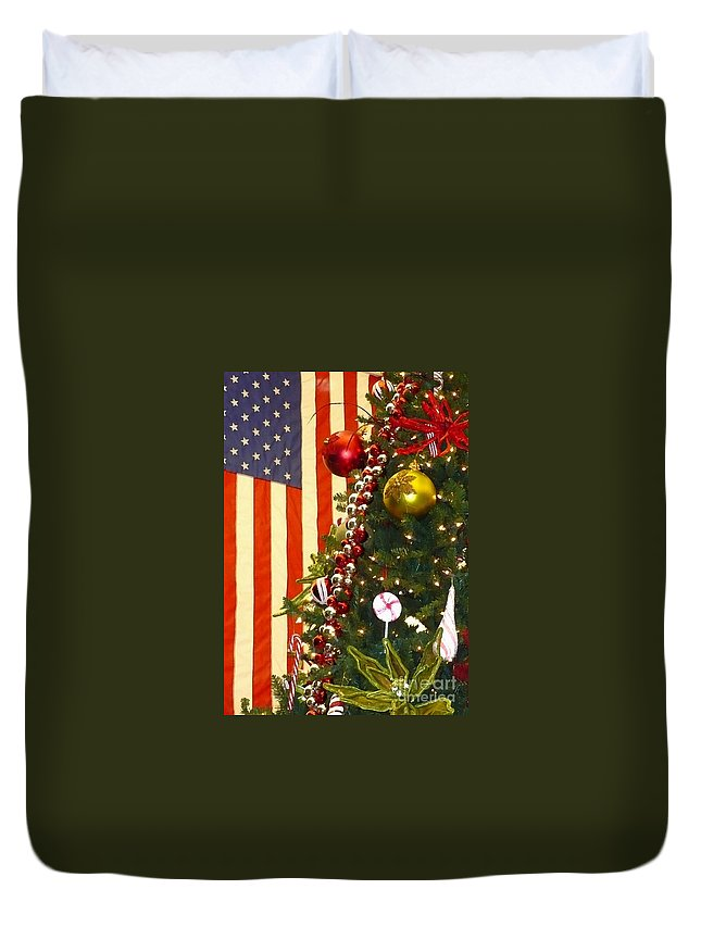 Patriotic Christmas Duvet Cover featuring the photograph Patriotic Christmas by Carol Groenen