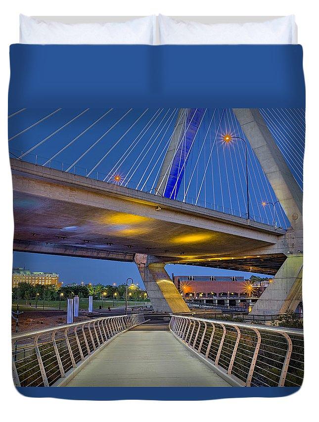 Boston Duvet Cover featuring the photograph Paul Revere Park And The Zakim Bridge by Susan Candelario