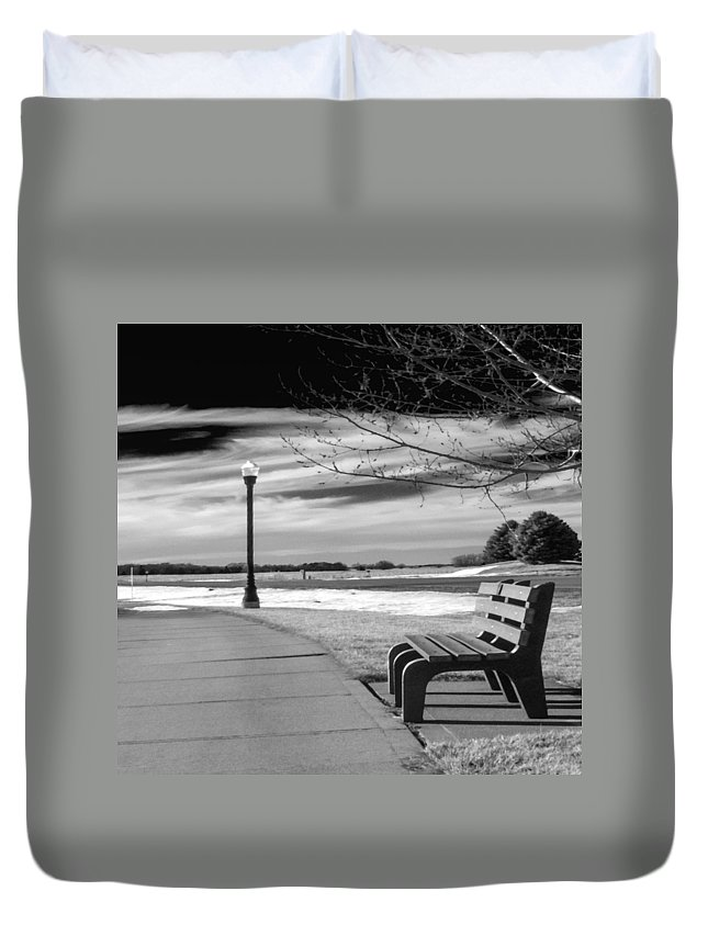 Bench Duvet Cover featuring the photograph Pause by Don Spenner