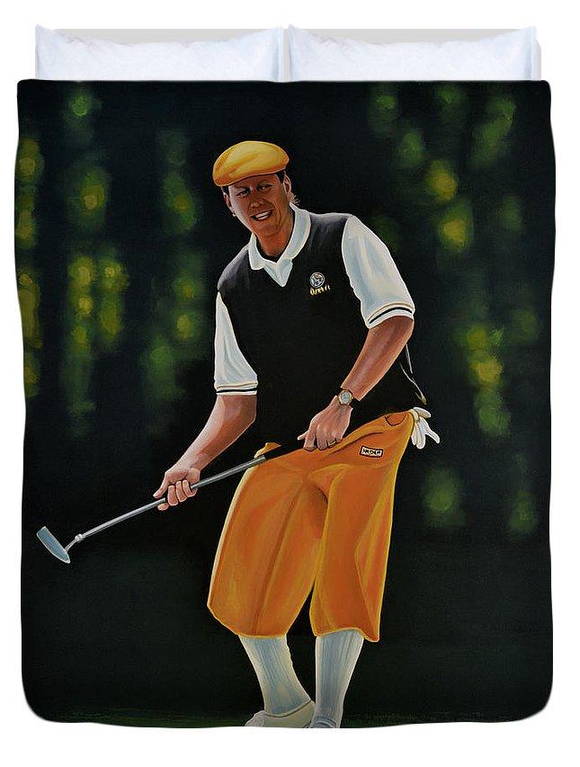 Payne Stewart Duvet Cover featuring the painting Payne Stewart by Paul Meijering