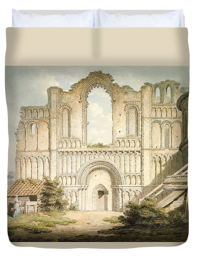 Ruin Duvet Cover featuring the drawing Pd.56-1958 West Front Of Castle Acre by Edward Dayes