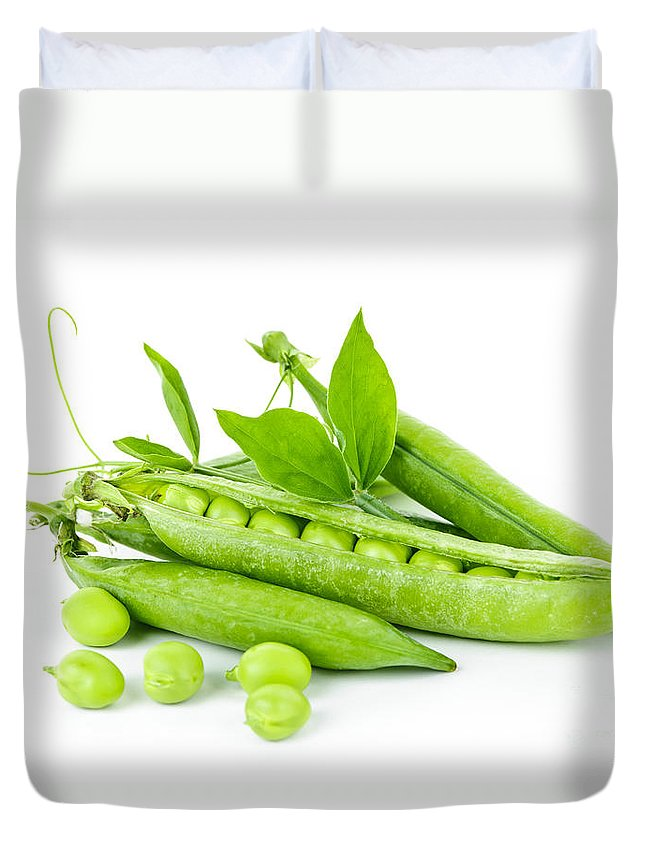 Peas Duvet Cover featuring the photograph Pea Pods And Green Peas by Elena Elisseeva